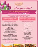 Gaylord Mother's Day Menu
