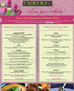 Namo Mother's Day Menu